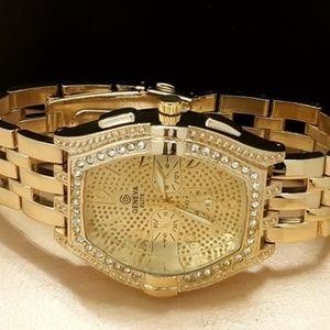 G-Elite Designer Men's Gold Tone Iced Bling Watch